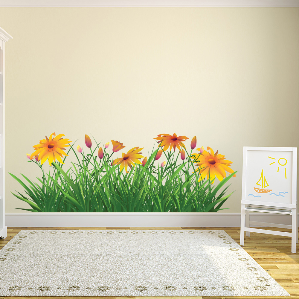 Yellow Daisy Flowers Wall Sticker Floral Wall Decal Living Room Home ...
