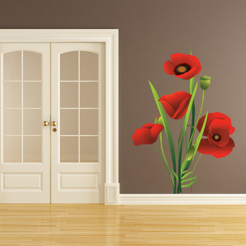 Bouquet Red Poppy Flower Wall Sticker Floral Wall Decal Living Room