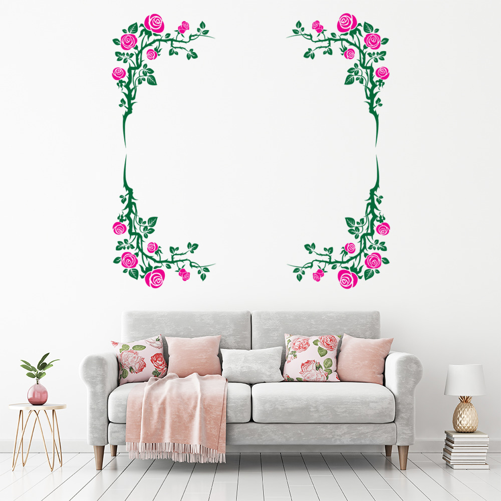 Window Glass Art Wall Border Stickers Removable Floral Self Adhesive Waist Line