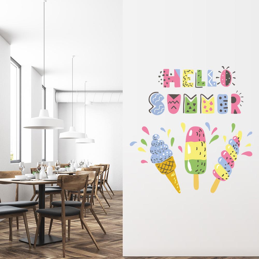 Hello Summer Ice Lolly Ice Cream Wall Sticker WS-46824