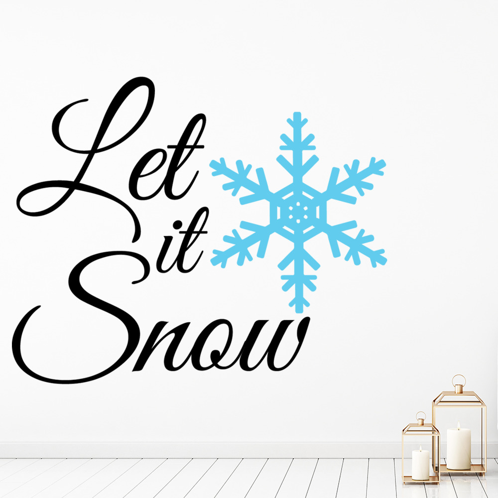 Let It Snow Christmas Snowflake Quote Wall Decal Sticker Ws 50057 Ebay
