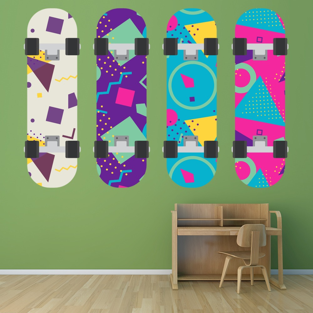 Colourful Skateboard Wall Sticker Set WS-50625