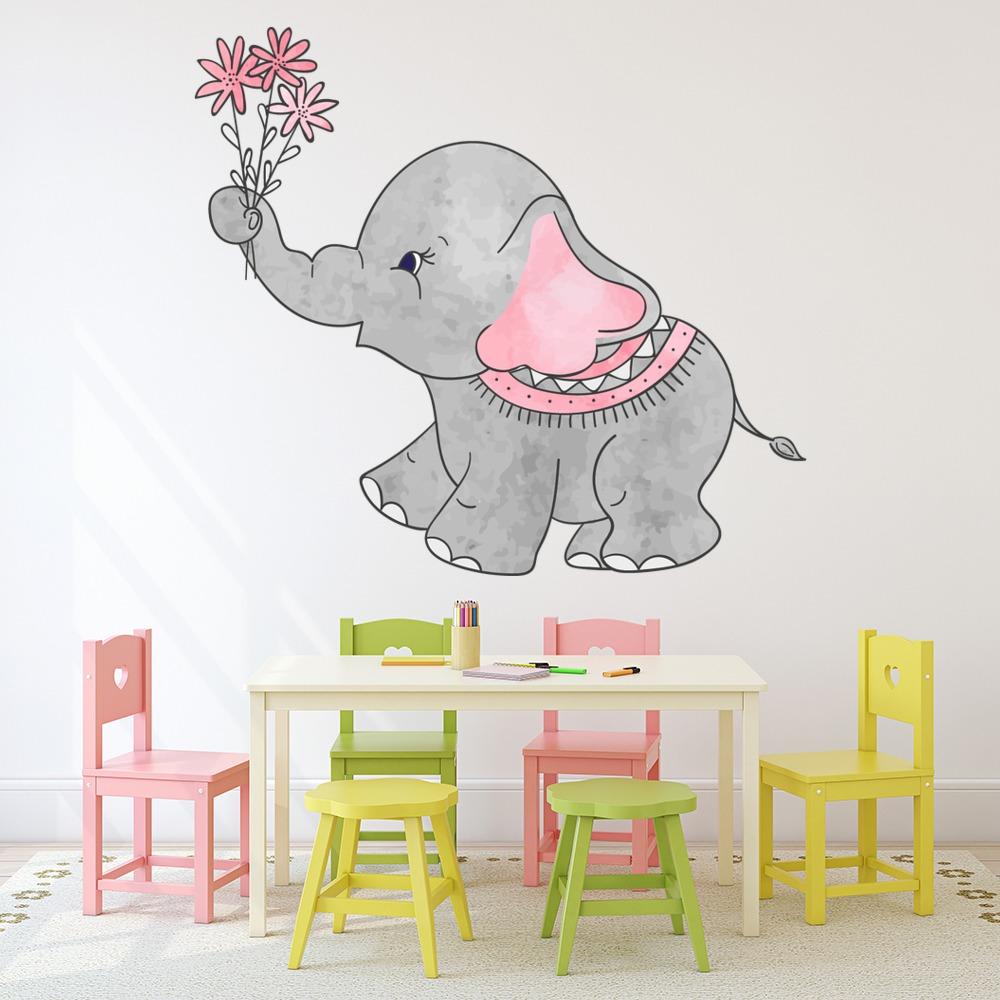 Cute Grey Elephant Nursery Wall Decal