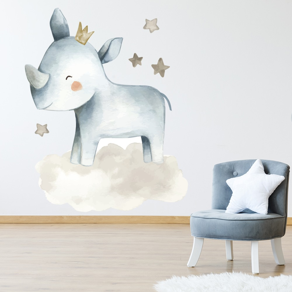 Details About Rhino Moon Stars Baby Nursery Wall Decal Sticker Ws 51226